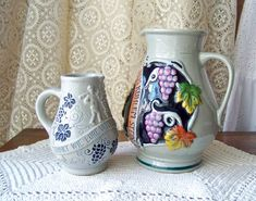 Vintage Stoneware Pitchers Wine Serving Jugs Salt Glaze
