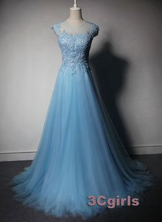 2016 cute sky blue lace handmade long homecoming dress, custom made prom dress, bridesmaid dress #3cgirls #weddings -> http://www.3cgirls.com/#!product/prd1/4217380491/cute-sky-blue-lace-handmade-long-homecoming-dress