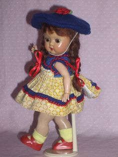 Early NASB Muffie Doll –NO Brows in Untagged Original Dress in Excellent Condition!