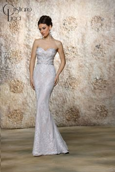12947/Jada Exquisite lace and dazzling crystals combine to create this elegant sheath  gown with sweetheart neckline, complete with detachable cascading  tulle train Fabric: Lace+Tulle+Satin Available Color: Ivory/Champagne Ivory/Ivory, White/White, White/Champagne