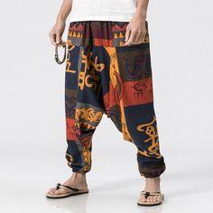 Enthusiastic Chinese Style 100% Linen Casual Pants Frog Closure Adjustable Leg Opening Harem Pants Drawstring Elastic Waist Harem Pants
