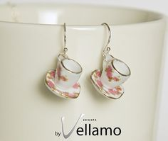 Sterling silver stud earrings with small teacups gold by byVellamo, $13.00