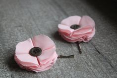 Pretty Baby Pink Fabric Flower Button Bobby Pin by JoliesCutesies, $8.00
