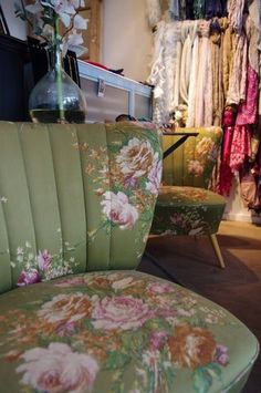 Love these 1960's green floral chairs from Little Paris in London!