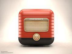 Dribbble - 3D Retro Radio IOS Icon by Ali Rahmoun