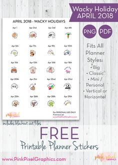 Free planner printables, diy crafts, and card making crafts. Planner stickers for the Happy Planner, Erin Condren, and all types of planners. Happy Planner Kit, Free Planner, Planner Pages, Printable Planner, Calendar Stickers, Planner Stickers, Free Printable Stickers, Free Printables, Special Day Calendar