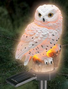 Hand Painted White Snowy Owl Solar Powered Lights Up In The Dark
