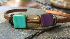 Copper bracelet with colored stones by HammerandWire on Etsy
