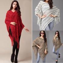 Beige Mulheres Moda Estilo coreano Batwing luva Fringe Hem Irregular solto Manto Cover Up Tops Knitting