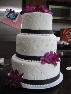 Fake Wedding Cakes for Display   Cakes   Pinterest   Fake wedding     fake wedding cake  fondant covering  purple dendrobium orchids