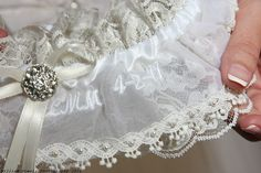 Garter made from the mother's wedding dress - Yes! This one is mine - get more information on how to make you own at http://makeithappendesigns.blogspot.com/
