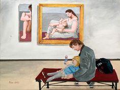 in the museum. Good example. With two paintings of Picasso: Mère et enfant au bord de la mer. Musée Picasso Paris