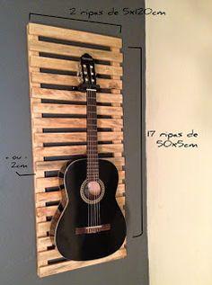 Homens da Casa: Suporte para violão em painel de Madeira - Faça Você Mesmo
