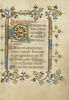 Decorated Initial C; Unknown; Utrecht (probably), Netherlands; about 1405 - 1410; Tempera colors, gold leaf, and ink on parchment; Leaf: 16.5 x 11.7 cm (6 1/2 x 4 5/8 in.); Ms. 40, fol. 80; J. Paul Getty Museum, Los Angeles, California Hand Lettering Fonts, Calligraphy Handwriting, Medieval Manuscript, Medieval Art, Illuminated Letters, Illuminated Manuscript, Illumination Art, Getty Museum, Book Catalogue