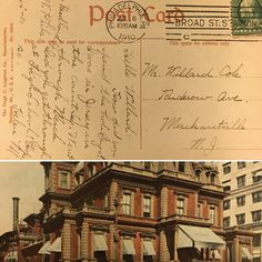 """A Union League post card time stamped on 10:30am on July 6, 1910. The card was sent by a Ms. Helena M. living on Reedland Street in West Philadelphia, PA to a Mr. Willard Cole living on Ruderow Avenue in Merchantville, NJ. It reads: """"Hello Willard: How did you spend the holidays? I was in Jersey in the Country. Went through Merch. Did you get through at High School? Hope so. Helena M"""". This post card was purchased by one of our members at a yard sale for just a $1.00!"""