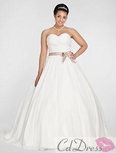Pretty Ball Gown Sweetheart Chapel Train Satin and Organza Plus Size Wedding Dress
