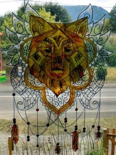 WICOART WINDOW COLOR STICKER STATIC CLING STAINED GLASS DREAMCATCHER LOUP WOLF