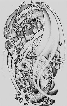 Dragon Koi Tattoo Design, Koi Dragon Tattoo, Japan Tattoo Design, Design Tattoo, Lion Head Tattoos, Body Art Tattoos, Sleeve Tattoos, Japanese Koi Fish Tattoo, Japanese Tattoo Designs