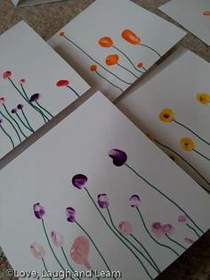 After Annabelle's Birthday, we set about making some thank you cards. After a little search on Pinterestwe decided to try some fingerprint flowers! Annabelle chose various coloured paints, and sh...