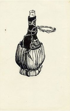 Untitled (Chianti Bottle) - drawing by Sylvia Plath (American, 1932 – 1963)