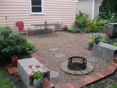 Pea gravel/cinder block patio/fire pit