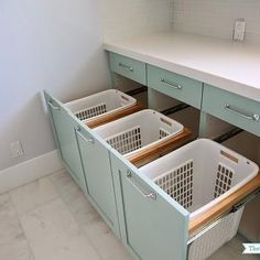 Built In Laundry Bins, Transitional, laundry room, Benjamin Moore Wythe Blue, Sunny Side Up Mud Rooms, Teal Laundry Rooms, Basement Laundry, Farmhouse Laundry Room, Laundry Room Design, Holiday Storage, Laundry Room Organization, Laundry Room Storage, Small Closet Storage