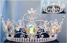 Full Silver  Men's aurora borealis Rhinestone Crown - Crown Designers - Rhinestone Crowns, Tiaras & Scepters