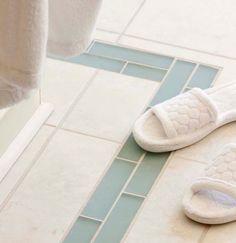 I love laying glass tile as a border in the floor,. it just looks cool Glass Tile Bathroom, Blue Glass Tile, Bathroom Floor Tiles, Sea Glass, Glass Tiles, Tile Floor, Frosted Glass, Glass Floor, Milk Glass