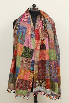 100% Silk Indian Dupatta Kantha Reversible Stole/Shawl Scarf Pom Pom Wrap Patch Work by NikitaHomeFurnishing on Etsy