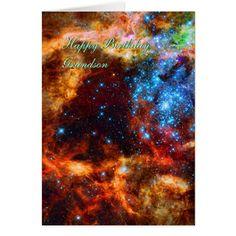 Birthday Grandson Stellar Group Tarantula Nebula Card - click/tap to personalize and buy