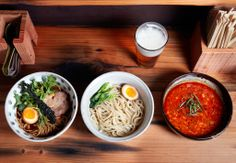From left to right: Meyer lemon shio broth with LLano Seco Chashu mizuna and cured egg; Tsukemen noodles with eggs and bok choy and tantanmen dipping broth. The beer is Magnolia Kalifornia Kolsch. Aya Brackett