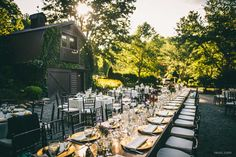 Outdoor wedding reception - table settings