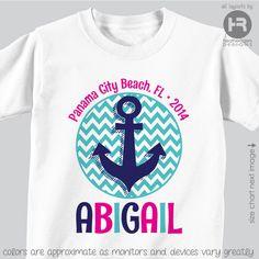 83493d58dd10 Girls Cruise shirt • chevron anchor personalized beach Tshirt • perfect for  your beach vacation • Summer Vacation Shirt Beach Trip Shirts