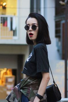 Red lip — so great with a casual outfit