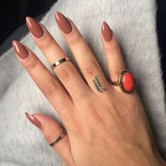 Light Coffee Brown Nails - Image via We Heart It