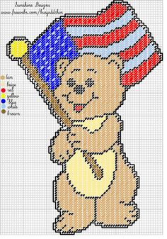 BEAR WITH USA FLAG by SUNSHINE DESIGNS -- WALL HANGING