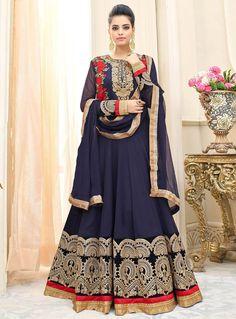 9207235054b Navy Blue Georgette Floor Length Anarkali Suit 95276 Lehenga Suit