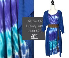 Check out this beautiful #tiedye #LuLaRoeNicole dress paired with a blue chifon #LuLaRoeShirley kimono! Oh. My. Goodness!