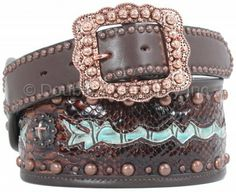 Brown Snake Print with Turquoise Gator Print Inlay Belt by Double J Saddlery.