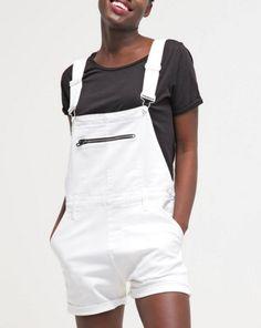 Calvin Klein Jeans Ogrodniczki białe krótkie white denim