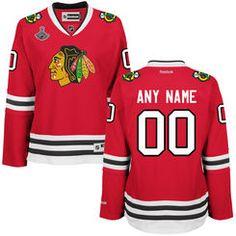 Women's Chicago Blackhawks Reebok Red 2015 Stanley Cup Champions Premier Custom Jersey