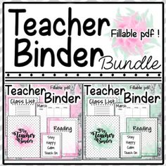"""This product includes the following: Covers and spine 1"""", 2"""" - Green, Pink Two Quote Posters Blank Line Paper Three types of Class List Month Calendars for any year (Blank Dates) Subject Cover Tabs - Reading - Math - Algebra - Social Studies - History - Science - Art - PE - Computers - Music - Health - Holidays - ESE - Professional Developments - Team Building - Testing - Passwords - Centers - Phonics - Notes"""