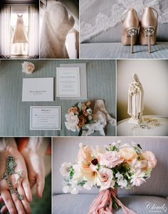 Okay honestly how beautiful are all of these details from our last wedding of 2016? We're obsessed with the light and airy pastel peaches, blushes, and champagnes that ran true throughout the flowers, jewelry, invitations, and of course, the shoes! And don't even get us started on that dress 😍 The lace detailing was absolutely perfect for this bride, such a classic beauty. The rosary and Catholic figures were just icing on the cake. Winter wedding in San Juan Capistrano, CA…