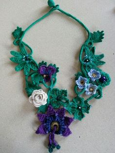 Inspired by a friend who needed a necklace to go with an outfit .I made this using Irish crochet. I love it so much I need to make another for myself!