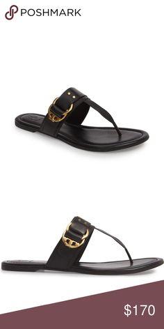 74a676cd3536b Tory Burch Marsden Flat Thong Black Leather Sandal