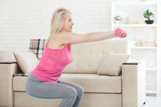Strength training over 50 builds muscle mass, bone density and decreases body fat. Learn how to build strength as you age! Arm Workouts At Home, Toning Workouts, Stretching Exercises, Fit Board Workouts, Easy Workouts, Stretches, Neck And Shoulder Exercises, Shoulder Workout, Strength Training Program
