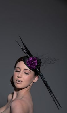 Purple and Black Peacock Feather Fascinator by BirettaAndBusby