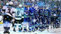Love this shot of blurry confetti and team handshakes. Vancouver Canucks in the Stanley Cup final! Hockey Posters, Stanley Cup Finals, San Jose Sharks, Vancouver Canucks, Ice Hockey, Espn, Best Games, Nhl, In This Moment