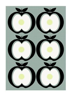 Retro inspired Apple Print - A4 Print, Wall Art. £10.00, via Etsy.