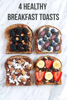 Healthy Breakfast Toasts to try with nutritious healthy toppings. Easy to make, great for kids & so beautiful! Time to toast it up with these four incredible healthy breakfast toast recipes with unique toppings. The perfect on the go breakfast or snack! Healthy Desayunos, Healthy Recipes, Easy Recipes, Healthy Breads, Diet Recipes, Healthy Cafe, Nutritious Snacks, Cheap Recipes, Dinner Healthy